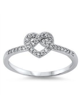 CHOOSE YOUR COLOR Infinity Knot Heart Love Clear CZ Promise Ring .925 Sterling Silver